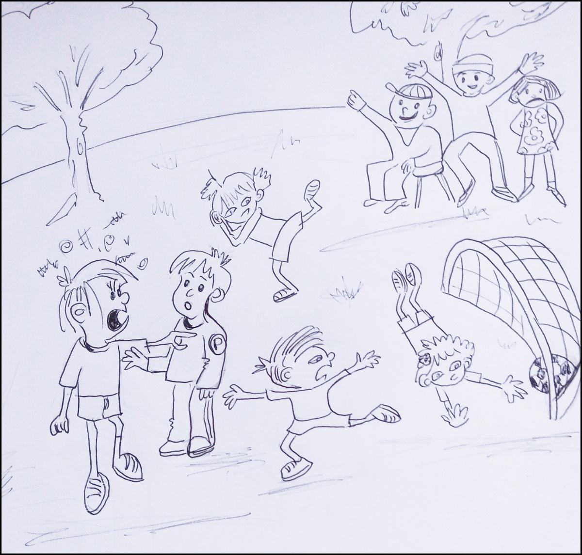 Mediación escolar en escuelas primarias dibujo niños en el recreo