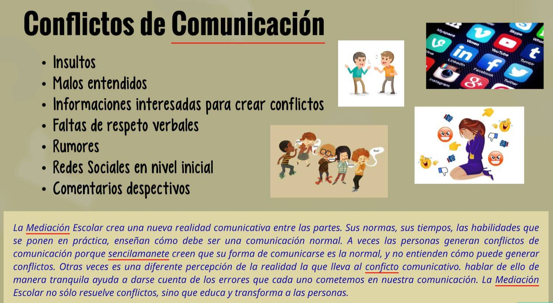 Conflictos escolares comunicación ejemplos